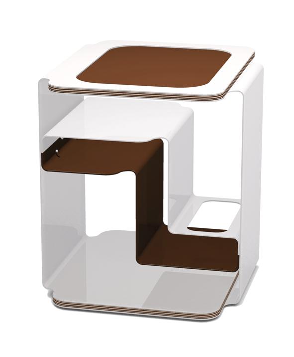Designer Beistelltisch | Designer Beistelltisch Weiss Mit Multiplexplatten Couchtisch