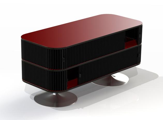 Couchtisch design mit faltschiebet ren for Designer couchtisch rot
